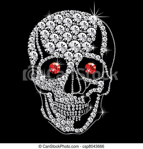 diamond skull with red eyes - csp8043666