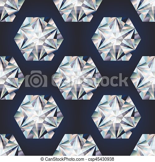 Diamond stone seamless background, vector illustration - csp45430938