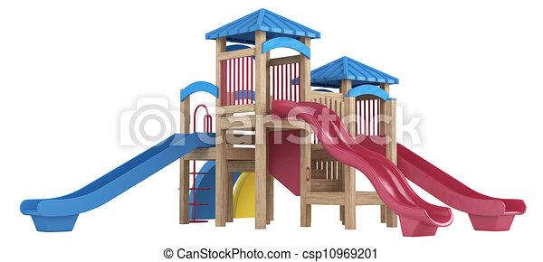 diapositive, apparecchiatura, campo di gioco - csp10969201