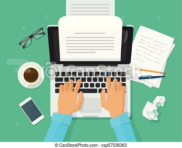Escritor escribiendo en la hoja de papel de la computadora ilustración vectorial, editor de dibujos animados planos escribir texto superior vista, portátil con letra o diario, autor periodista trabajando clipart - csp57536363