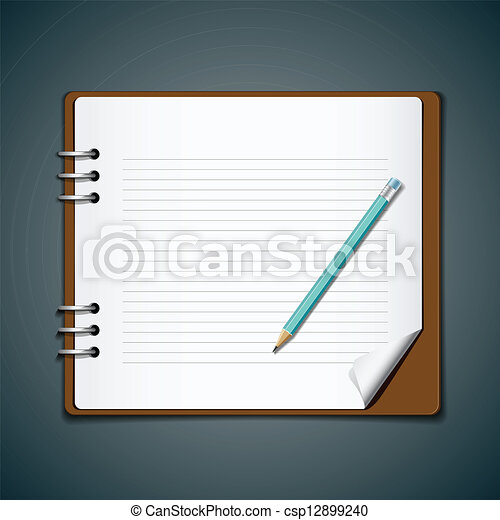 Diary note book and blue pencil - csp12899240