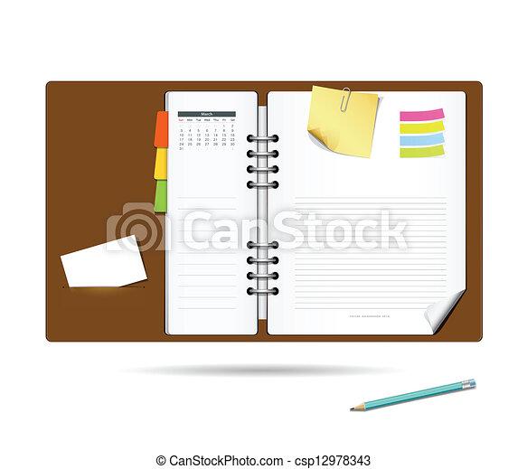 Diary note book modern design - csp12978343