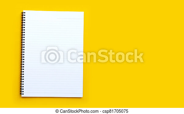 Diary on blue background. Top view - csp81705075