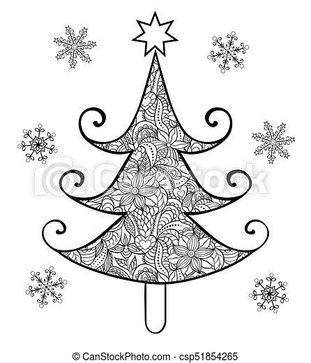 Dibujado rbol navidad mano Navidad illustration patrn