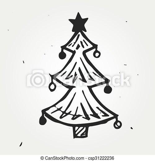 Dibujado rbol navidad mano Garabato objeto rbol vectores