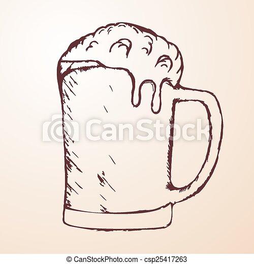 Dibujo a mano de la cerveza - csp25417263