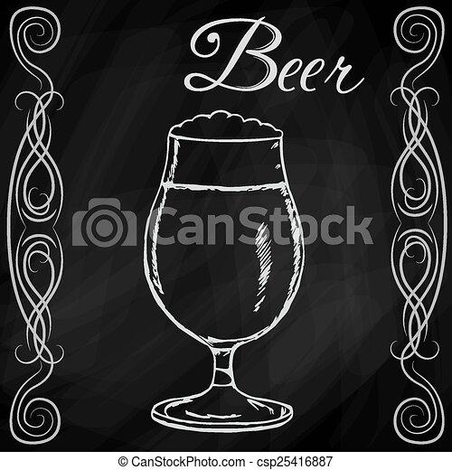 Dibujo a mano de la cerveza - csp25416887