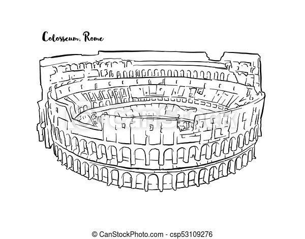 Dibujado Bosquejo Roma Coliseo Mano Contorno Coliseo Versión