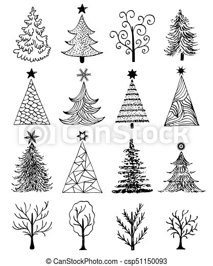 Dibujado Conjunto árbol Navidad Mano Conjunto Illustration