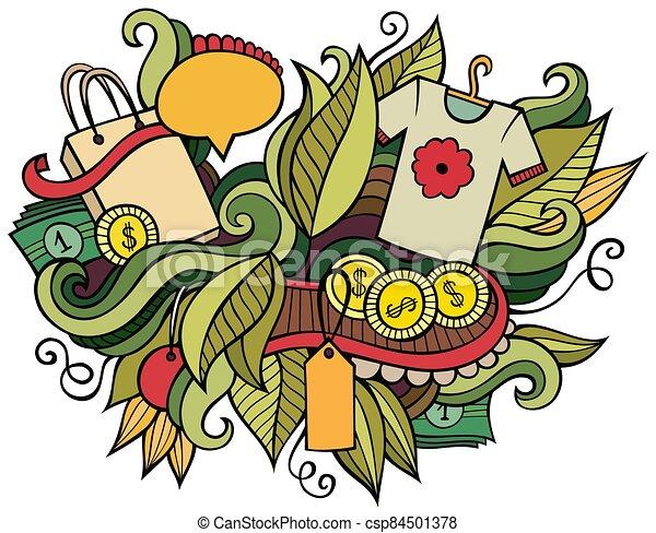 dibujado, illustration., venta, caricatura, compras, diseño, mano, doodles, divertido - csp84501378