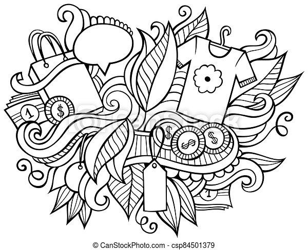 dibujado, illustration., venta, caricatura, compras, diseño, mano, doodles, divertido - csp84501379