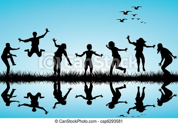 Los niños dibujados a mano jugando en la naturaleza - csp6293581