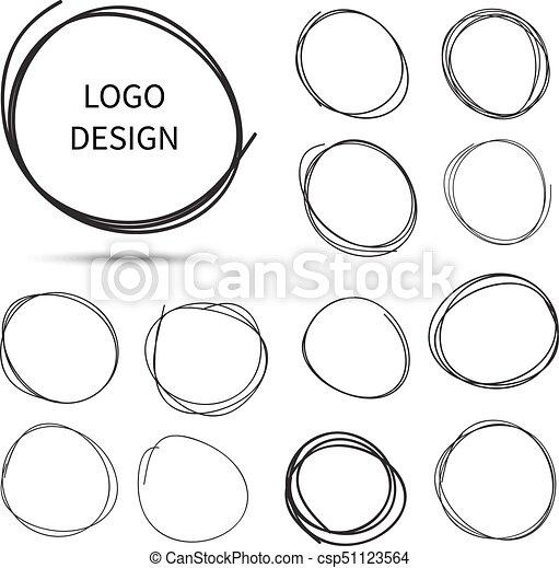 dibujado, mano, logotipo, diseño, círculos, vector - csp51123564
