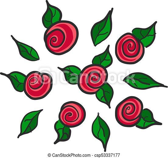 Dibujado Mano Rosas Rojas Dibujado Vector Rosas Rojas Mano