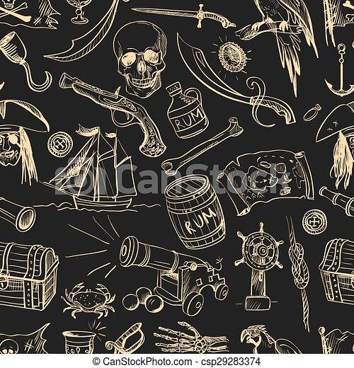 Patrón de piratas. Mano dibujada - csp29283374