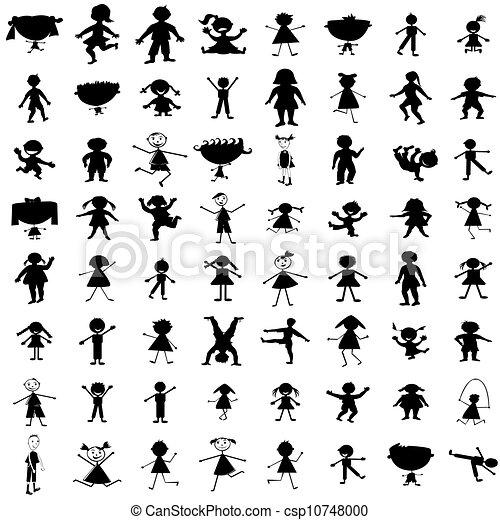 Dibujado, siluetas, conjunto, niños, mano.