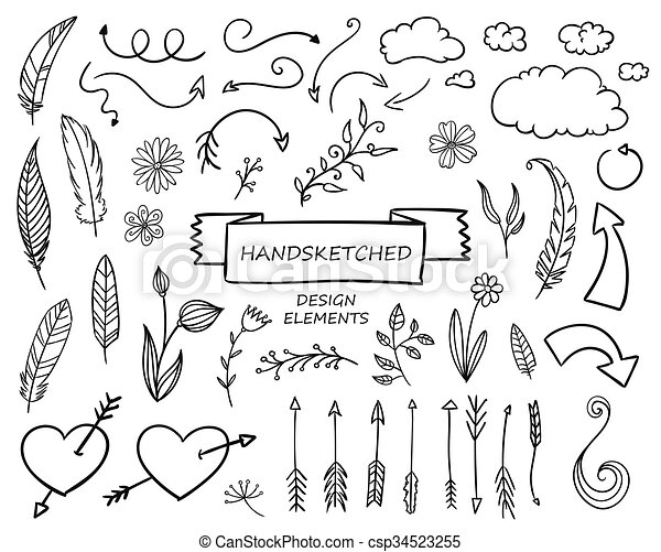 Elementos de diseño dibujados a mano - csp34523255