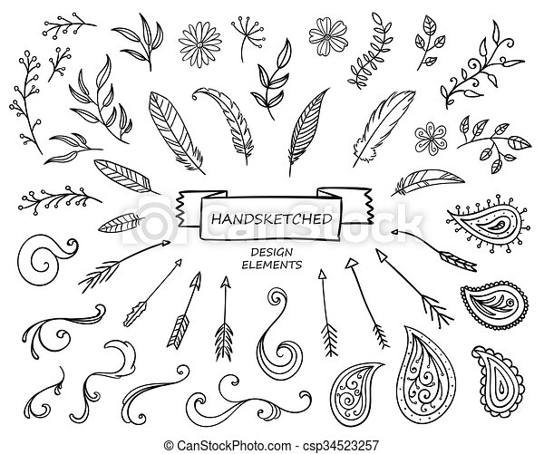 Elementos de diseño dibujados a mano - csp34523257