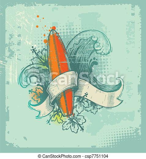 La mano del vector dibujaba el emblema del surf - csp7751104