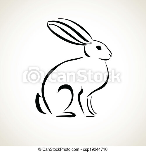 Dibujo de la línea del conejo - csp19244710