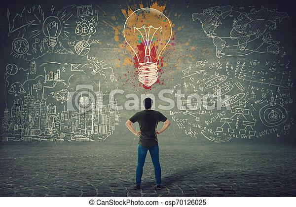Vista trasera de un joven confiado, manos en las caderas, está frente a una pared con una bombilla colorida y dibujos de negocios dibujados - csp70126025