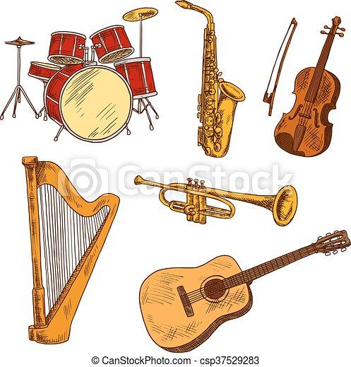 Dibujos Instrumentos Musical Coloreado Concierto Dibujos