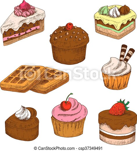 Dibujos, pasteles, cupcakes, coloreado, barquillos. Pasteles ...