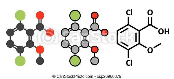 Dicamba herbicide molecule. Used in weed control. Stylized 2D renderings and conventional skeletal formula. - csp26960879