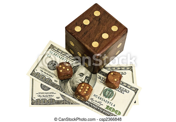 dice and money isolated on a white background - csp2366848
