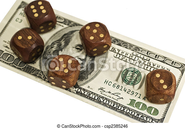 dice and money isolated on a white background - csp2385246