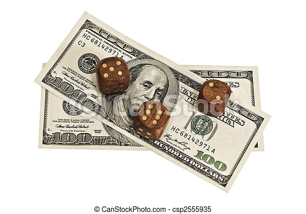 dice and money isolated on a white background - csp2555935