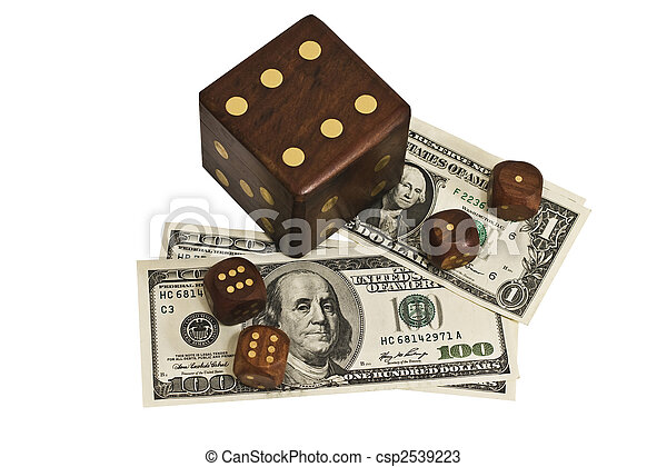 dice and money isolated on a white background - csp2539223