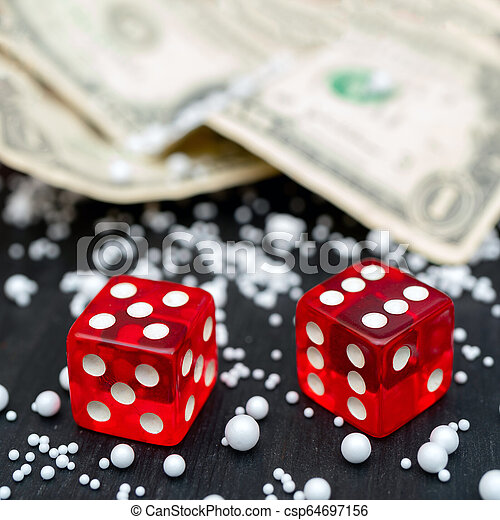 Dice game. Dice on the table. Dollar bills. - csp64697156