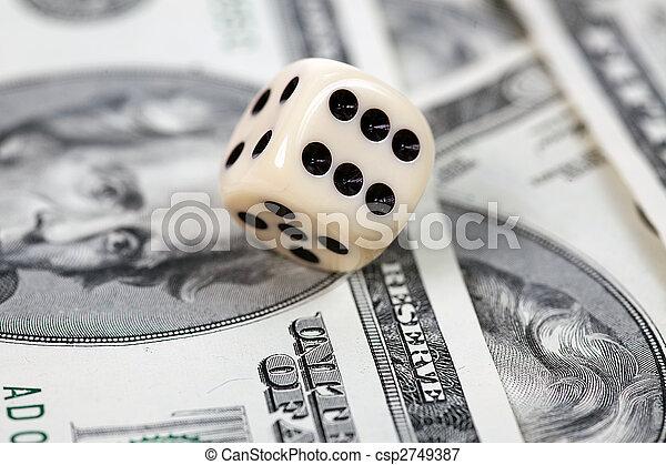 Dice on american money - csp2749387