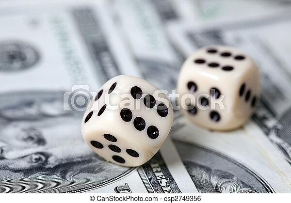 Dice on american money - csp2749356