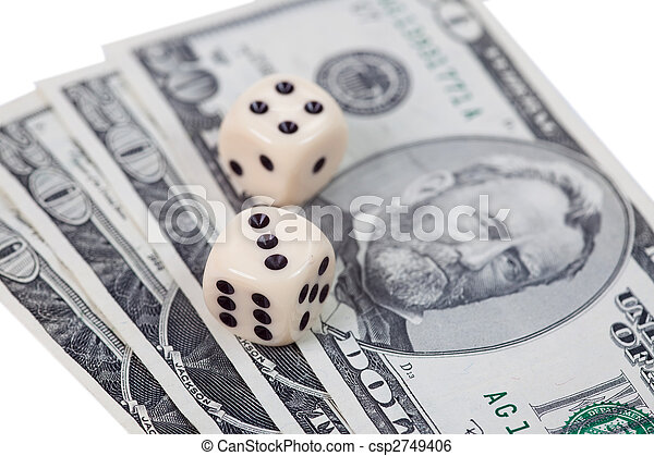 Dice on american money - csp2749406