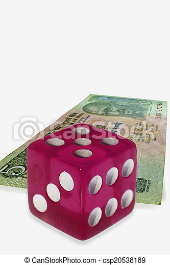 dice on money background, business concept - csp20538189