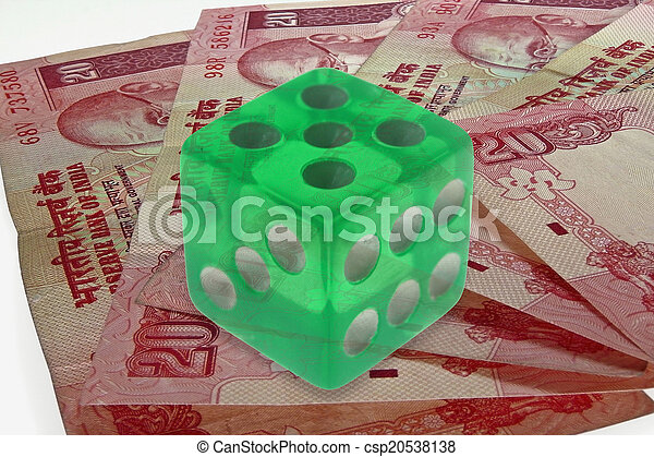dice on money background, business concept - csp20538138