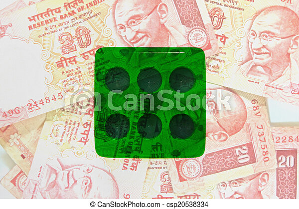 dice on money background, business concept - csp20538334