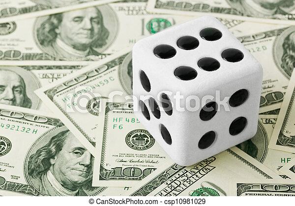 Dice on money background - csp10981029