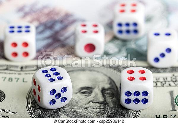Dice on money background - csp25936142
