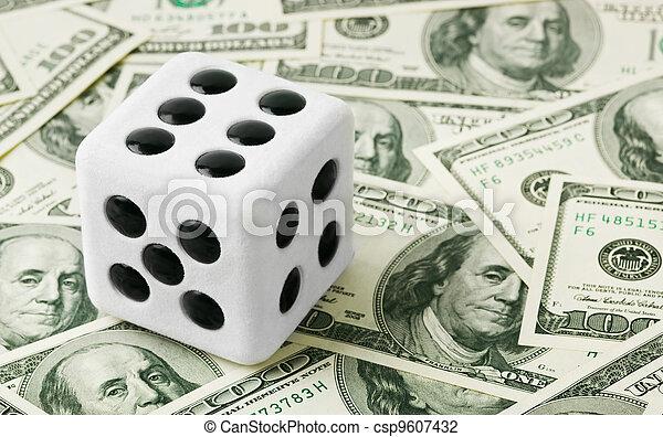 Dice on money background - csp9607432