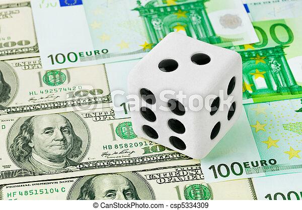 Dice on money background - csp5334309