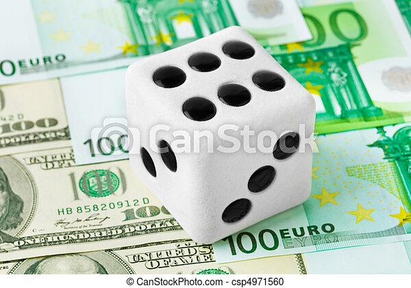 Dice on money background - csp4971560