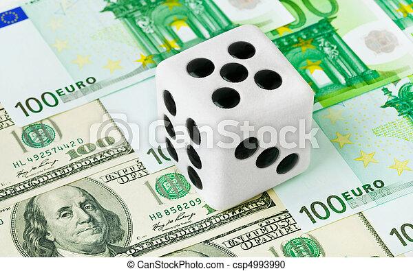 Dice on money background - csp4993990