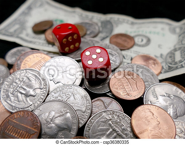 Dice on paper money and coins. Gambling concept - csp36380335