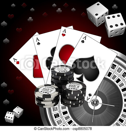 Dice playing cards and roulette - csp8805078