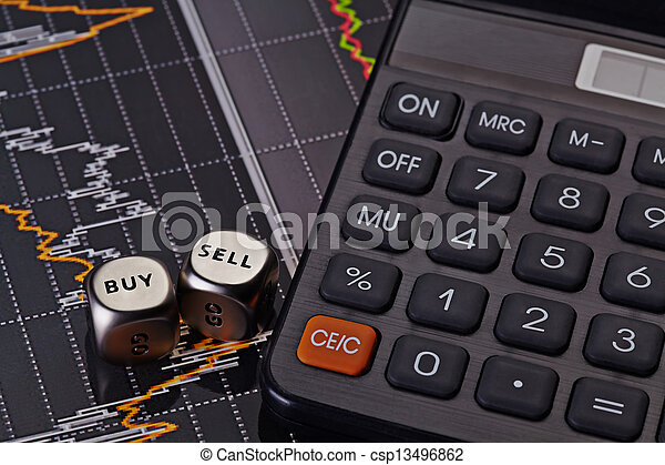 Dices cubes with the words SELL BUY, calculator and financial chart as background - csp13496862