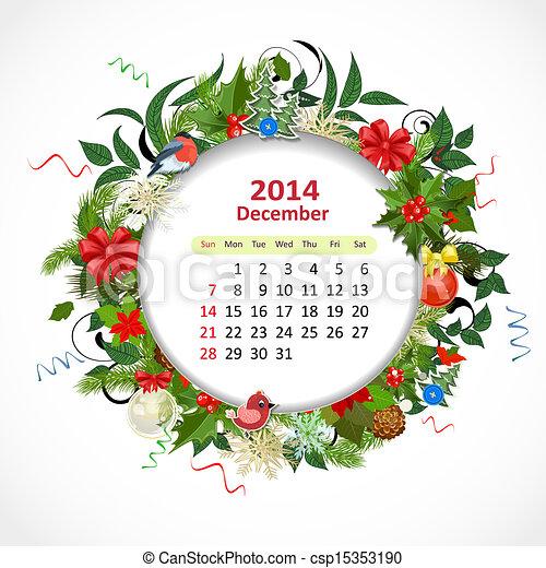 Calendario para 2014, diciembre - csp15353190