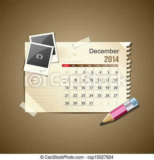 Diciembre del calendario 2014 - csp15027924